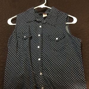Button up tank top with stars